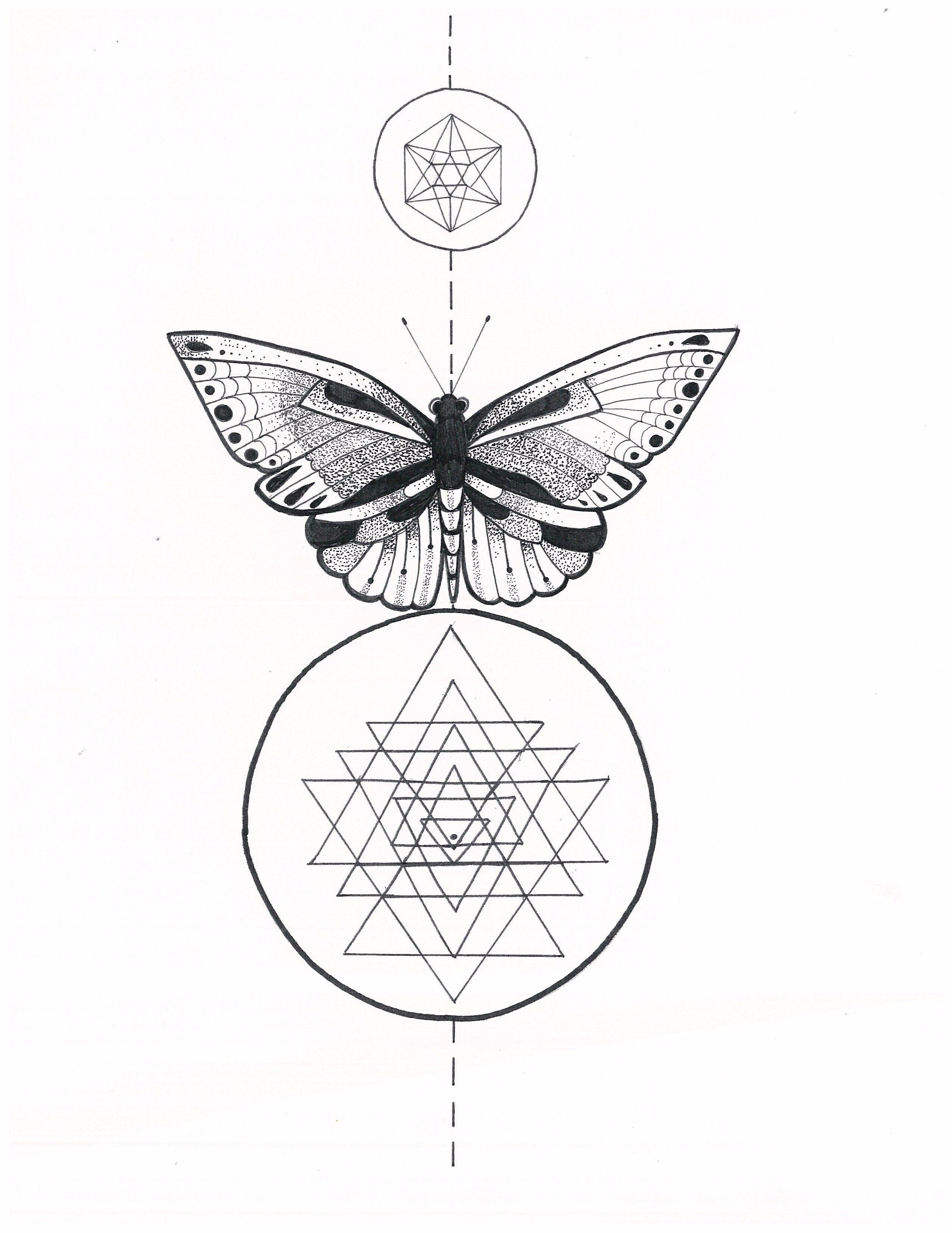 Micron Pen Illustration Sacred Geometry Sri Yantra Butterfly