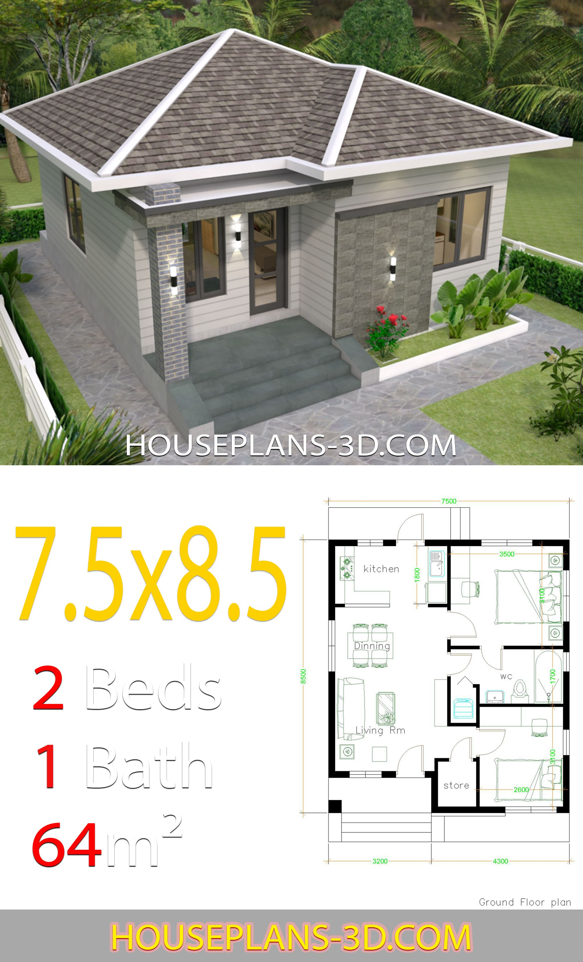House Design 7 5x8 5 With 2 Bedrooms House Plans 3d In 2020 My House Plans Bedroom House Plans House Plans