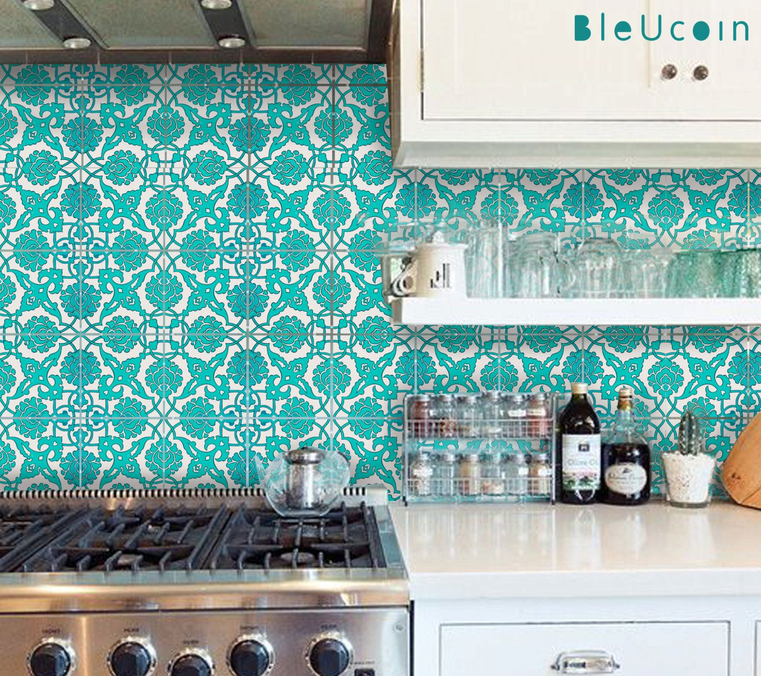 Tile Wall Floor Vinyl Decal Indian Teal Hand Painted Kitchen Bathroom Removable Stair Riser Sticker Pack of 44