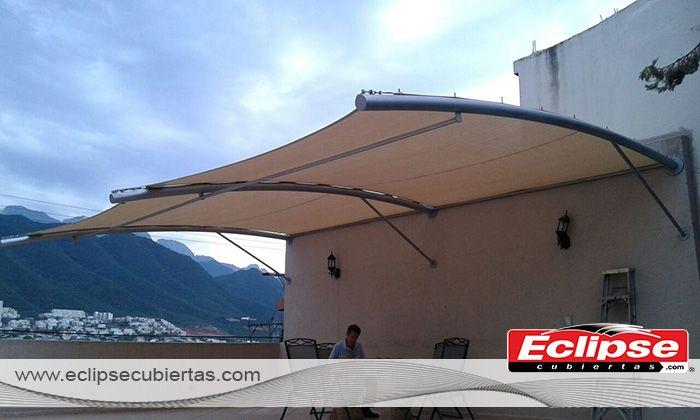 toldo parasol a pared en malla sombra #mallasombra #tensoestructuras