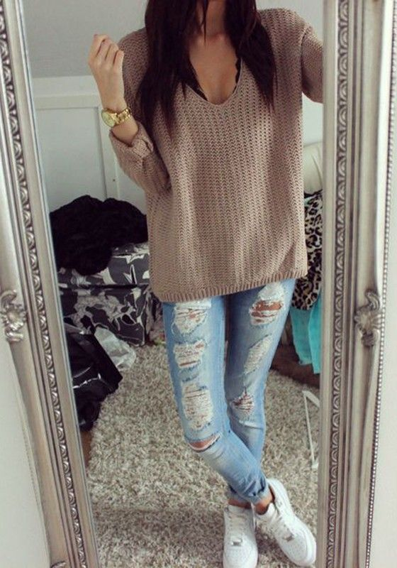 119ff6e0ce2 Coffee Plain Hollow-out V-neck Long Sleeve Loose Vintage Casual ...