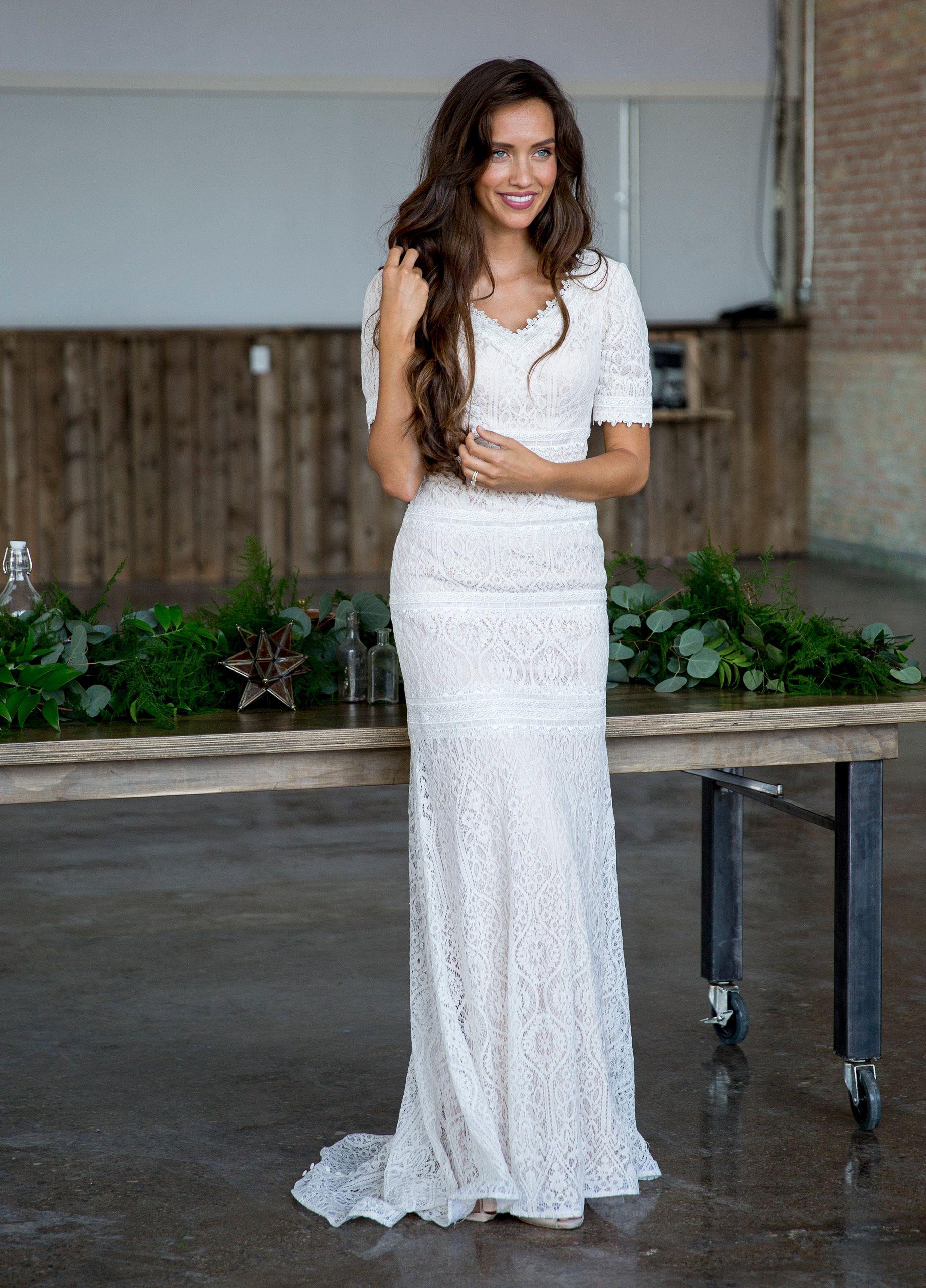 Lace Trumpet Wedding Gown - Modest by Mon Cheri TR21722   Trumpets ...