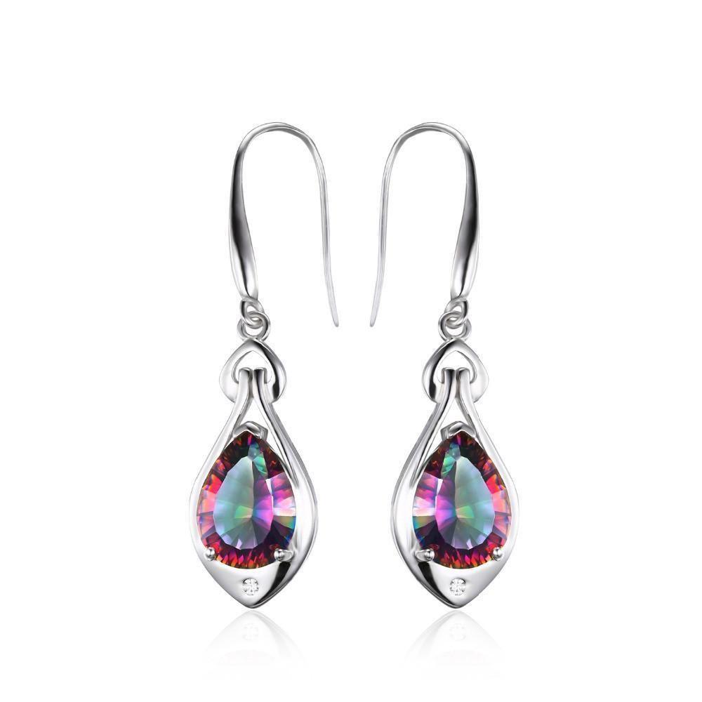 Mystic Topaz Dangle Earrings 925 Sterling Silver Healing