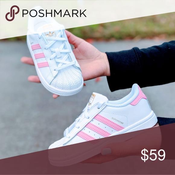 Adidas Superstar Girls Shoes White Pink