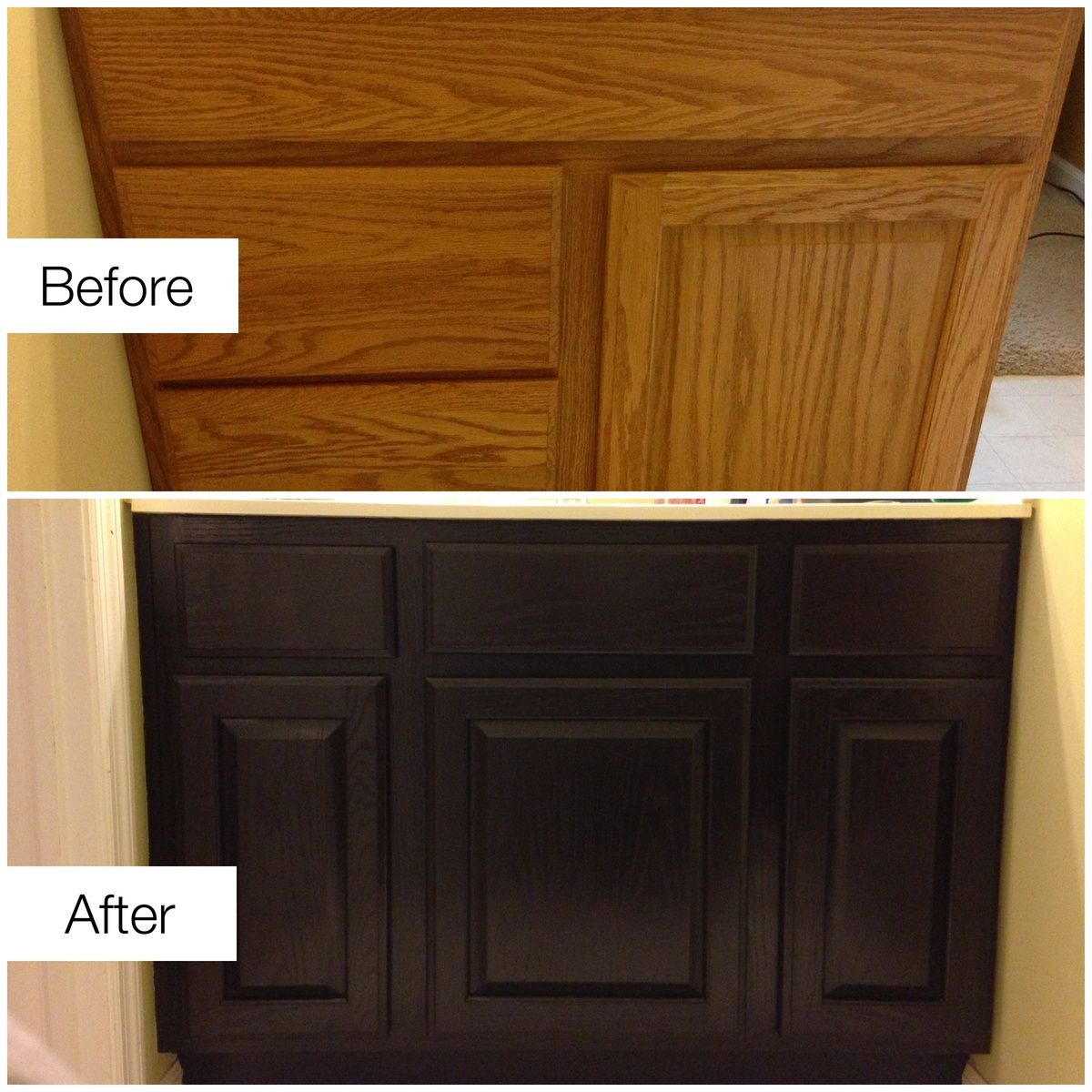 Ds Too Dark And Cant Be Undone Before After Staining Ugly Golden Oak Cabinets