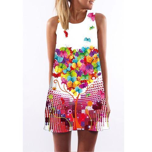b7d752bbe BHflutter 2018 New Bohemian Dress Women Floral Print Casual Loose Summer Dress  Sleeveless O neck Boho Style Mini Beach Dresses