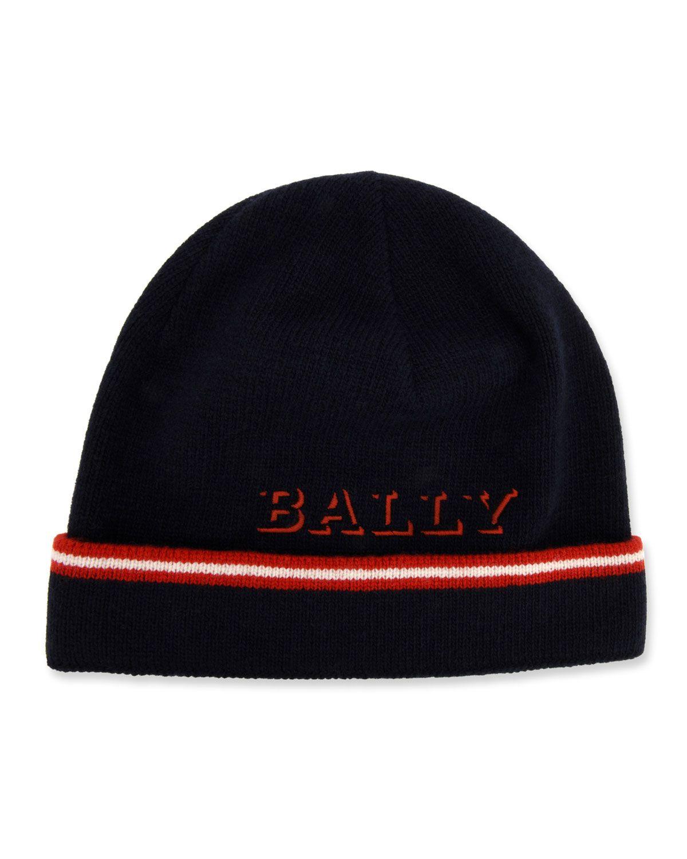 d62a5237e1f BALLY MEN S CONTRAST-STRIPED WOOL BEANIE HAT.  bally
