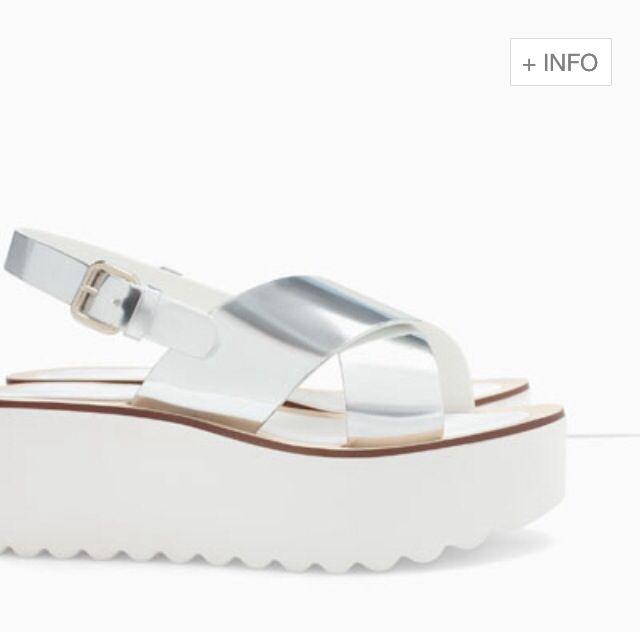 Silver flatform sandals - Zara