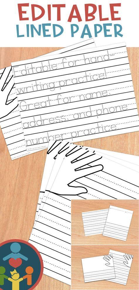 Kindergarten / Primary Lined Paper  Print Handwriting practice - editable lined paper