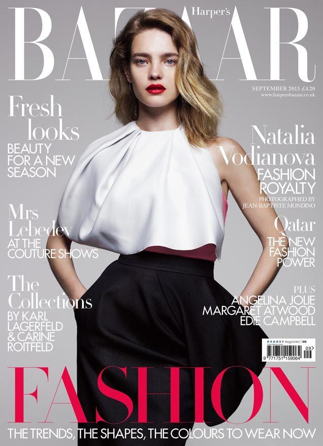 4f5813a252d Natalia Vodianova is Divine in Dior for Harper s Bazaar UK September 2013  Cover