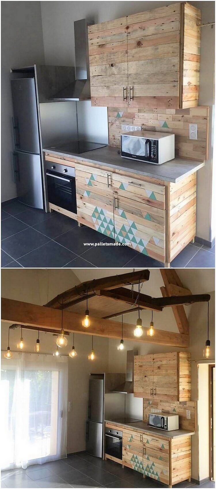 Kitchen Cabinets Are Always One Of The Favorite Ideas In The Houses That Are Settled With The Kitchen Beaut Pallet Kitchen Pallet House Pallet Kitchen Cabinets