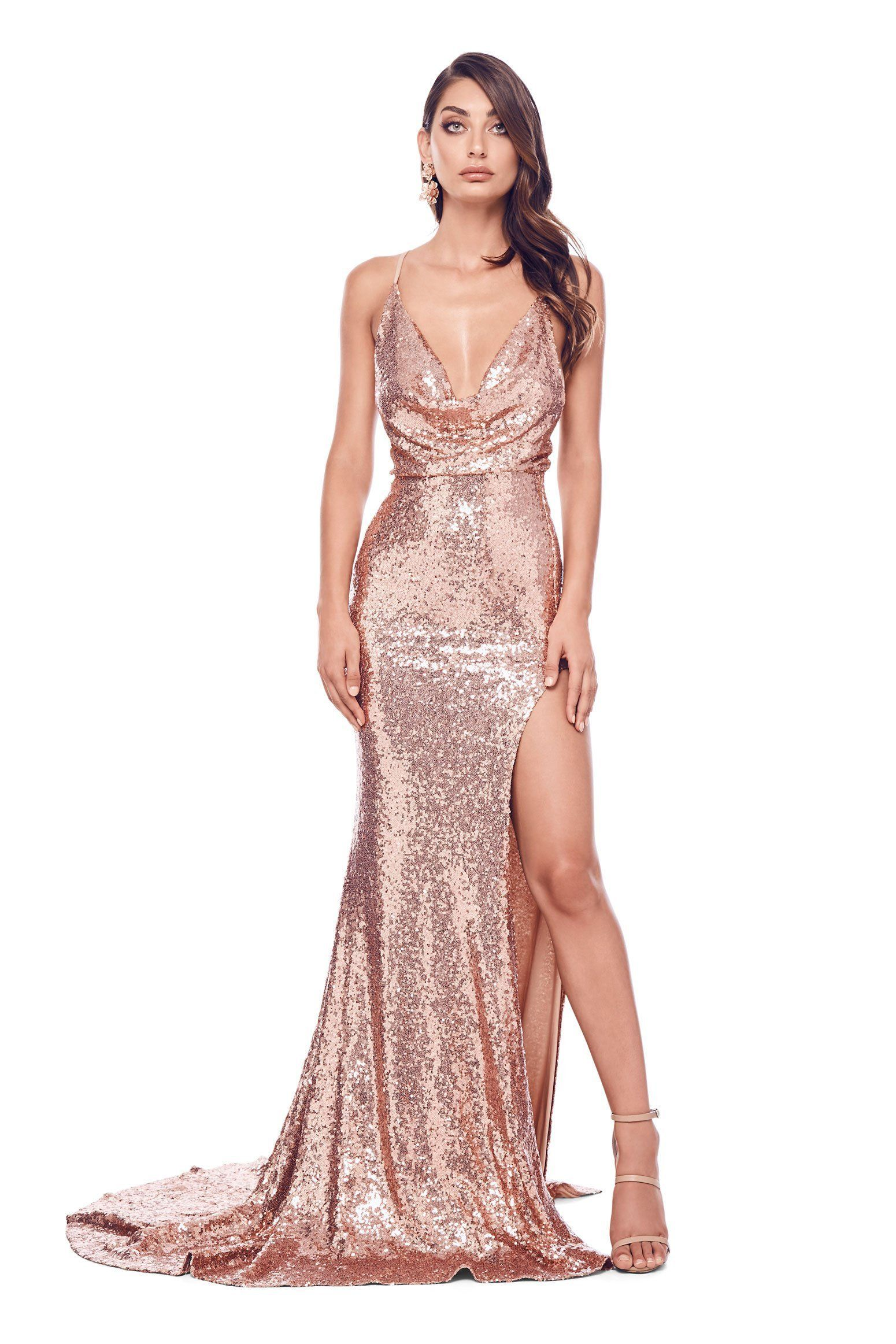 e3de75eea78 Andriana - Rose Sequin Gown with Cowl Neck