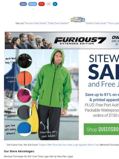Free Jacket Sitewide Your Own Logo D Arel Today S
