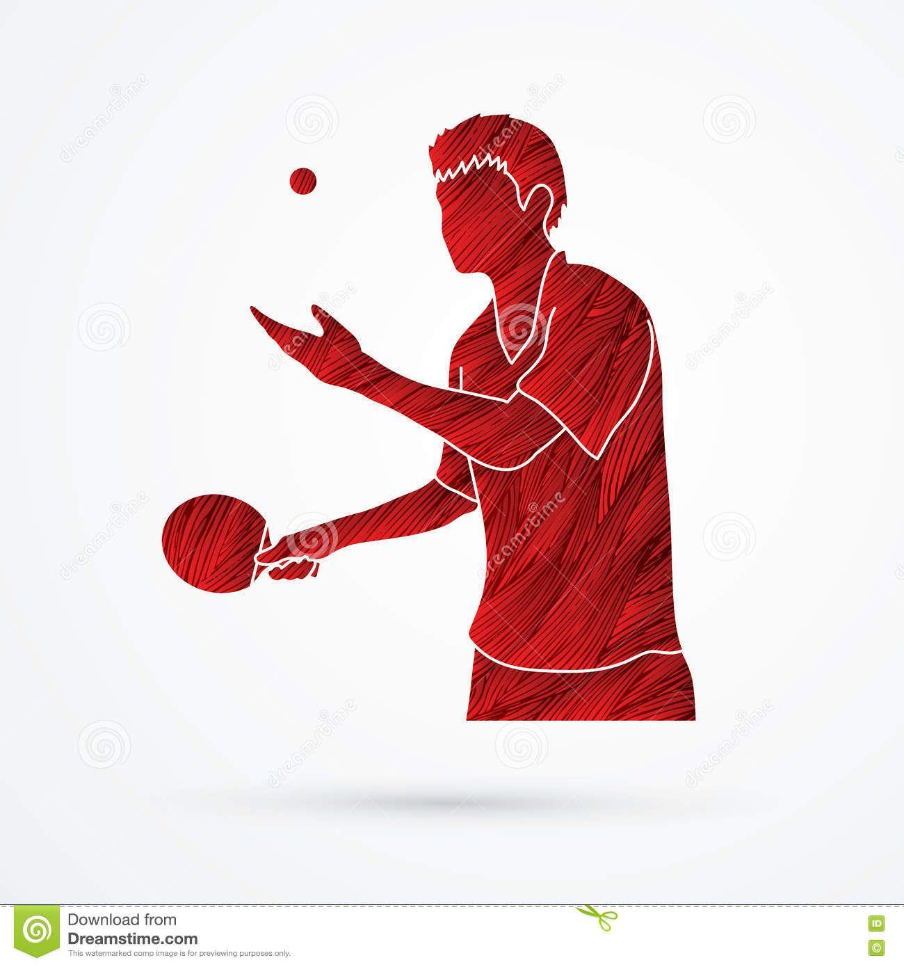 Foto Acerca El Jugador De Tenis De Mesa Diseno Usando Vector Rojo Del Grafico Del Cepillo Del Grunge Ilustracion De Quemadura Mesa De Tennis Ping Pong Tenis