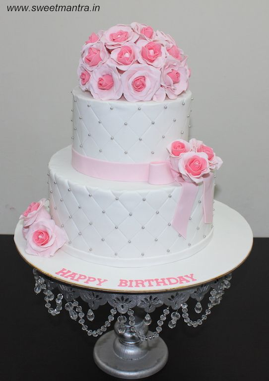 Roses Flowers Bouquet Theme Customized 2 Layer Cake For Wedding And Birthday Celebrations At Tiered Cakes Birthday Chocolate Fondant Cake Fondant Wedding Cakes