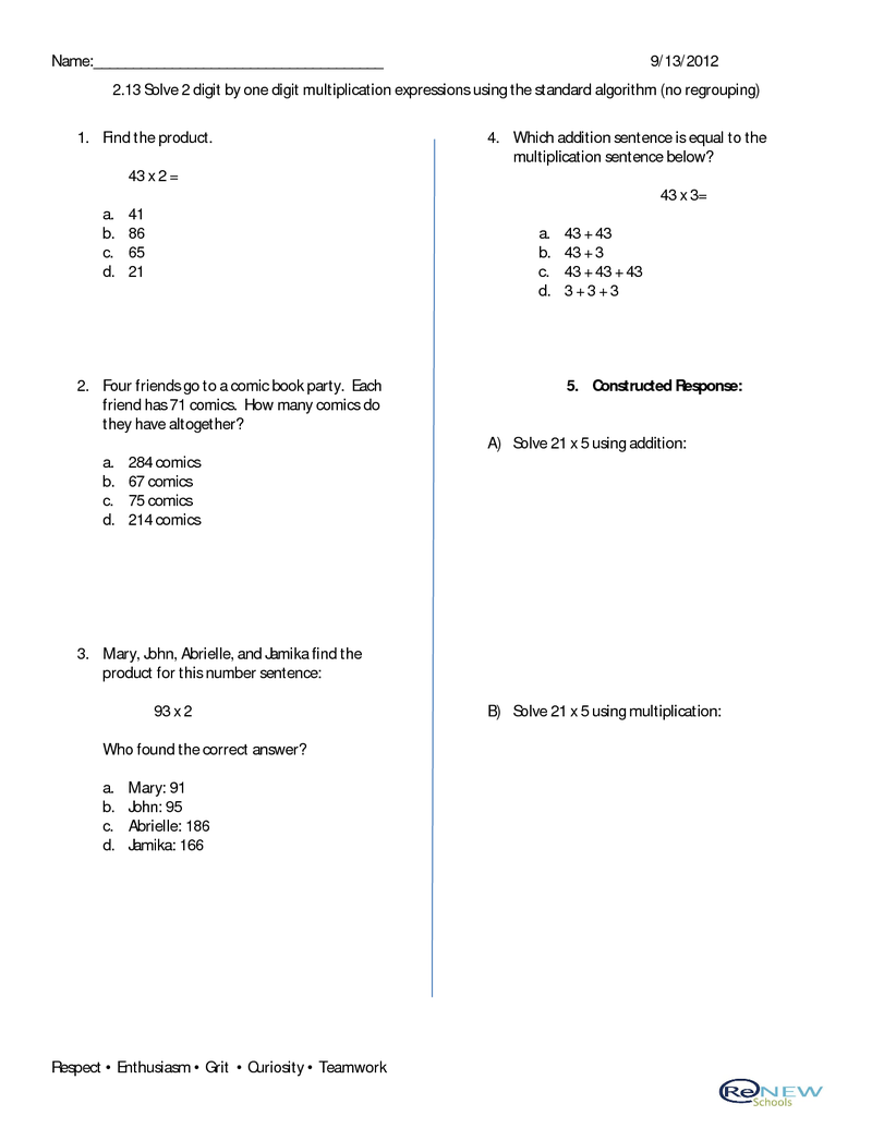 213 Solve 2 Digit By 1 Digit Multiplication Expressions Using