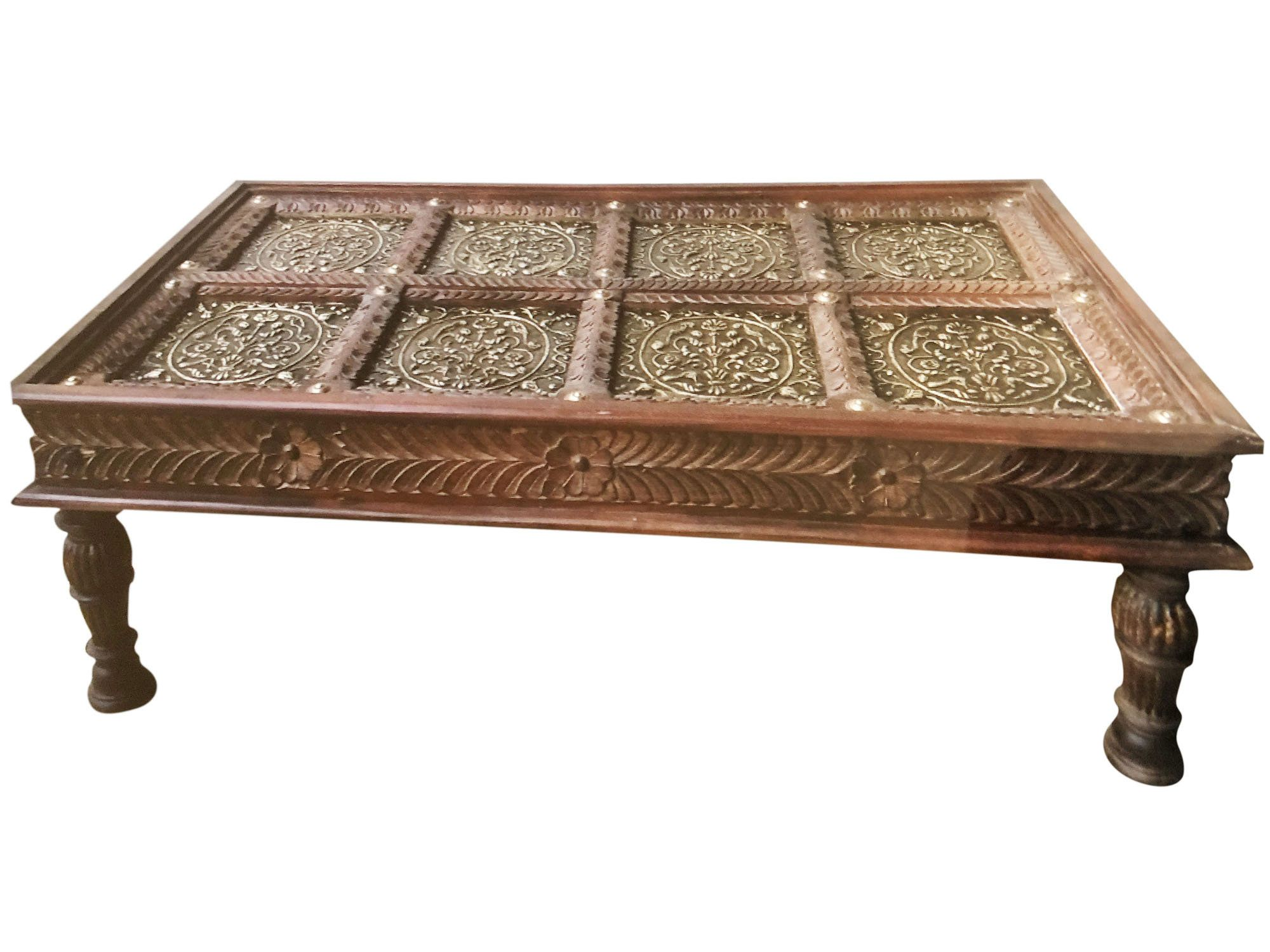 Chai Table Antique Indian Door Coffee Table Ornate Brass Carved