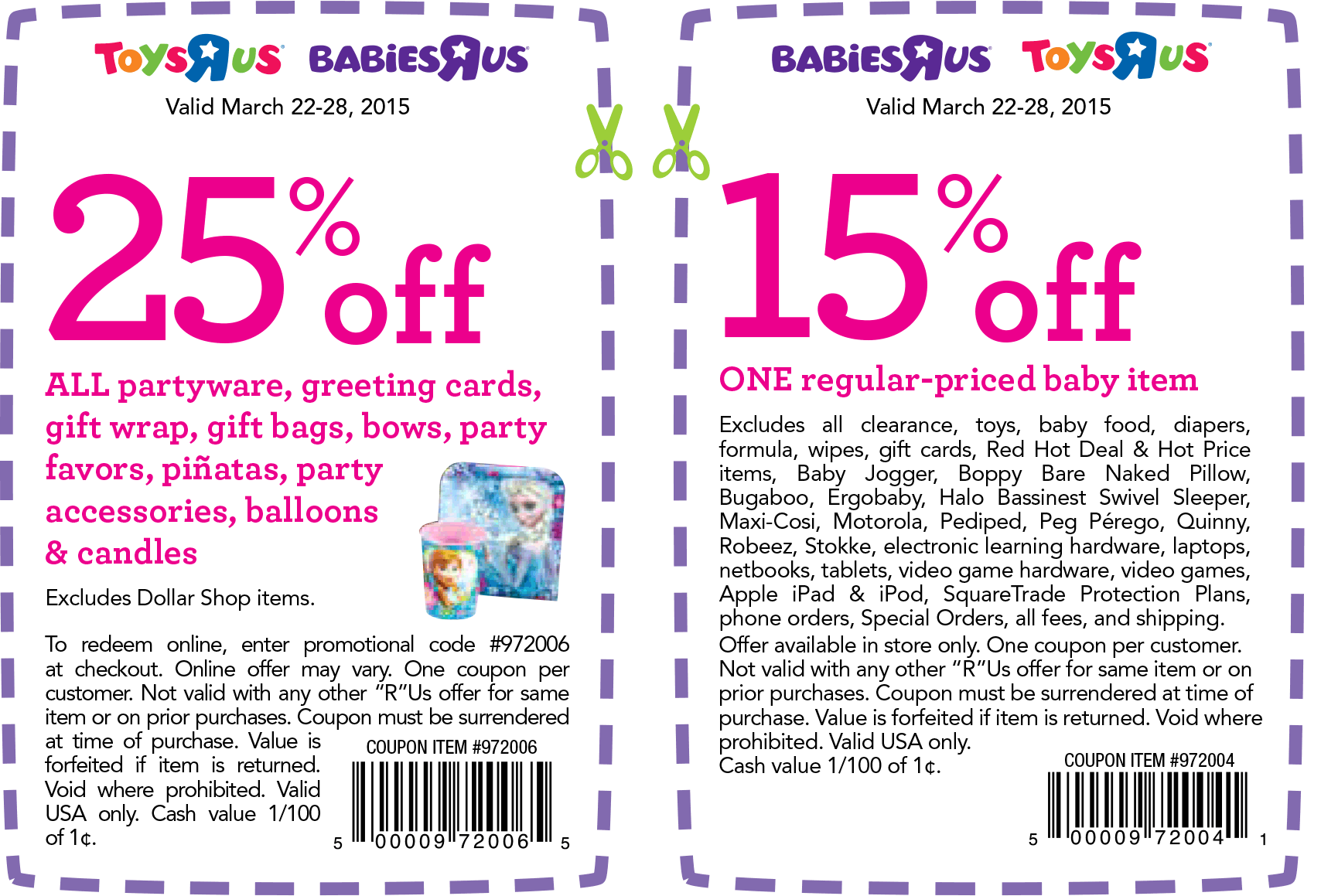 25 Off Partyware More At Toys R Us Babies R Us Or Online Via Promo Code 972006 Free Printable Coupons Party Ware Coupon Apps