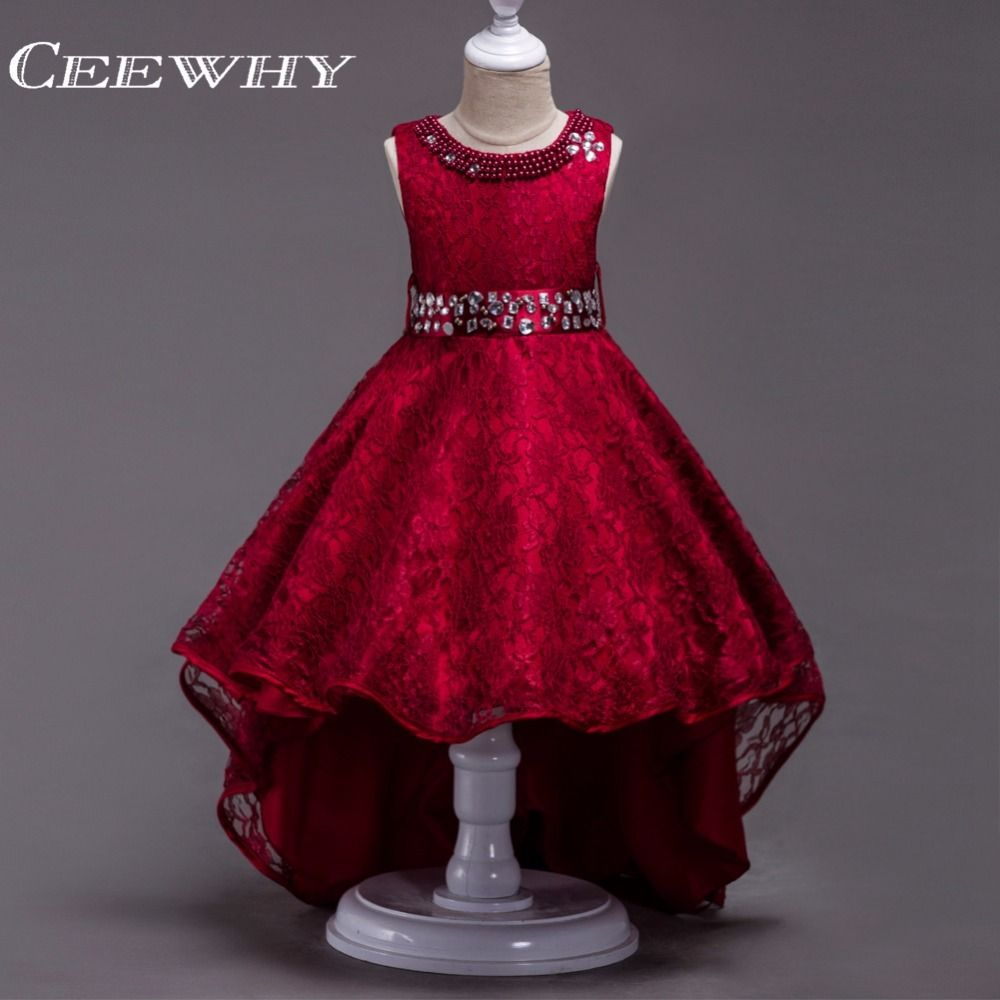 Girls wedding dress with crystal court train lace girls dress
