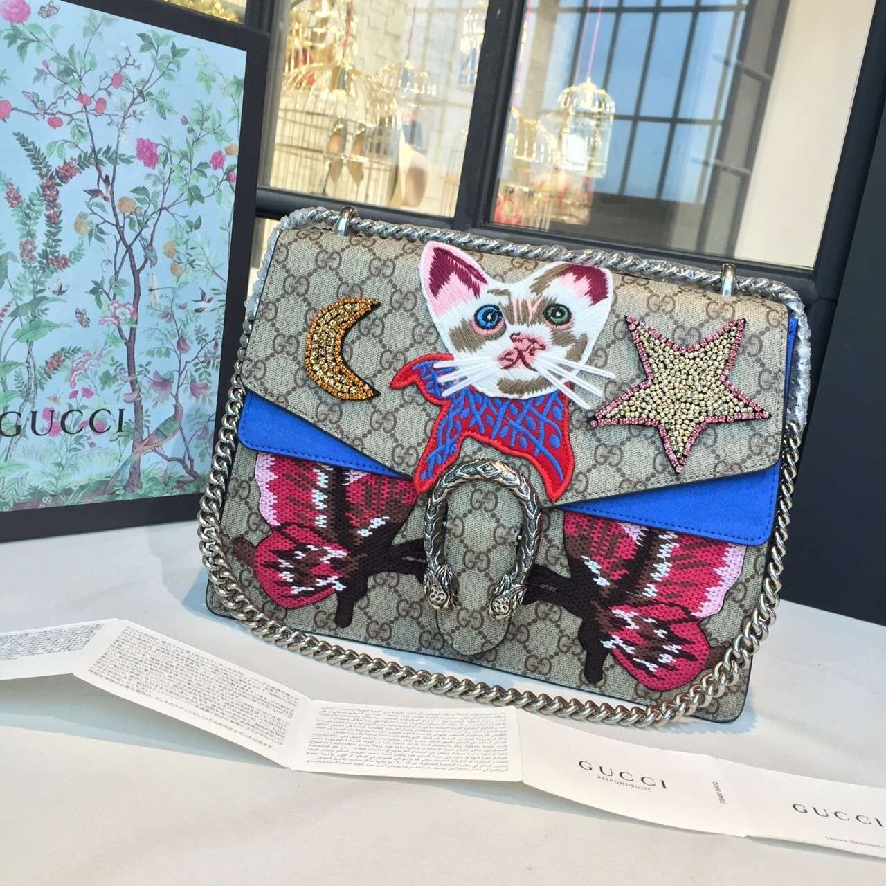 91f6b020f Gucci Dionysus GG Supreme Canvas Shoulder Medium Bag Embroidered Cat, Star  and Butterflies Bag Fall/Winter 2016 Collection, Blue Suede/Beige