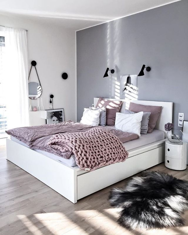 A Beautiful Grey And Pink Bedroom Is To Me Home Pinterest