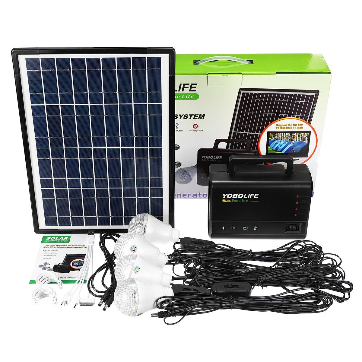 Lampe Energie Solaire Interieur kit panneau solaire 10w 18v + 4 ampoule 2 usb pour téléphone
