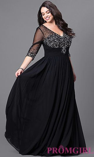 ff1a81edb6f75 Long Plus-Size V-Neck 3 4 Sleeve Prom Dress at PromGirl.com