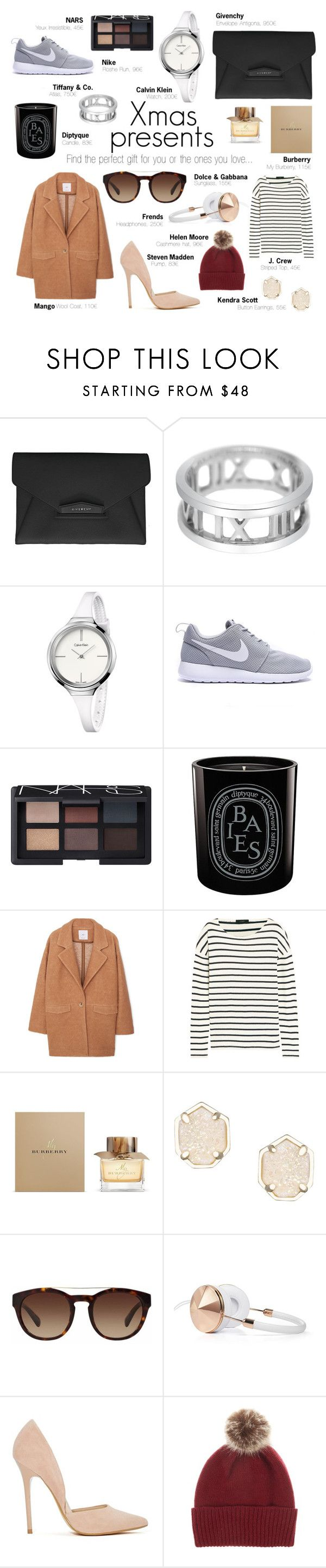 """""""My Christmas Gifts Selection"""" by lisa-campolunghi on Polyvore featuring moda, Givenchy, Tiffany & Co., Calvin Klein, NARS Cosmetics, Diptyque, MANGO, J.Crew, Burberry e Kendra Scott"""