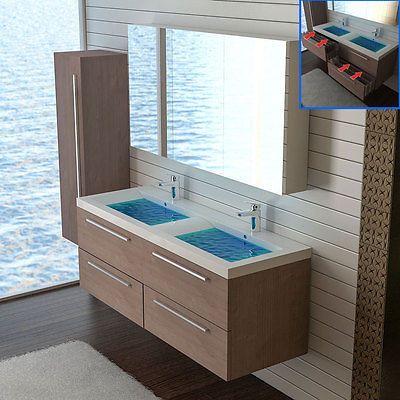 Waschbecken & Spiegelschrank Doppelwaschtisch Unterschrank