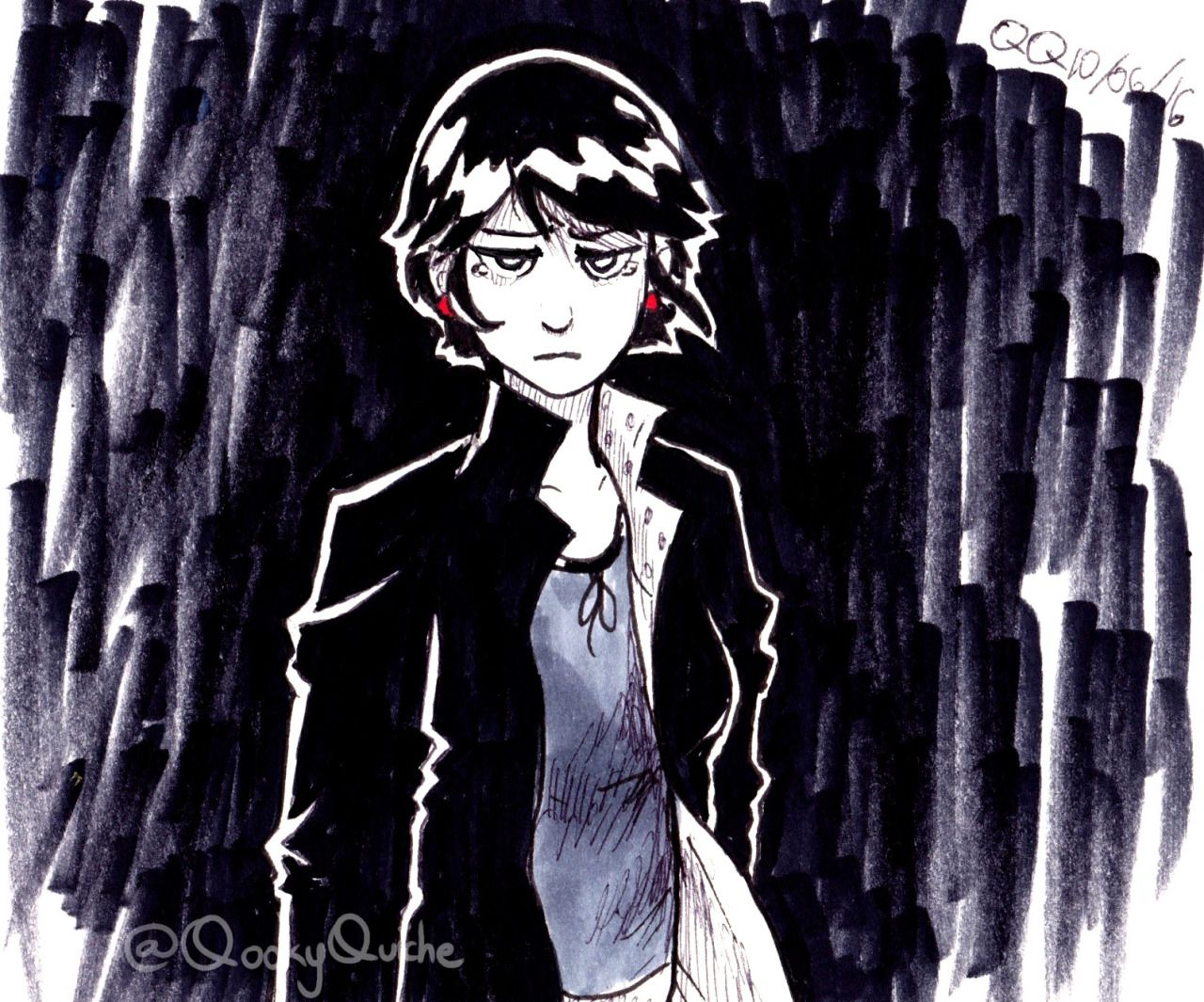 Inktober Day 6 ^^ Yep, more pixie-cut Marinette except….IT'S NOT FLUFFY. Wonder what she's upset about.. I messed up on the eyes though *cries*