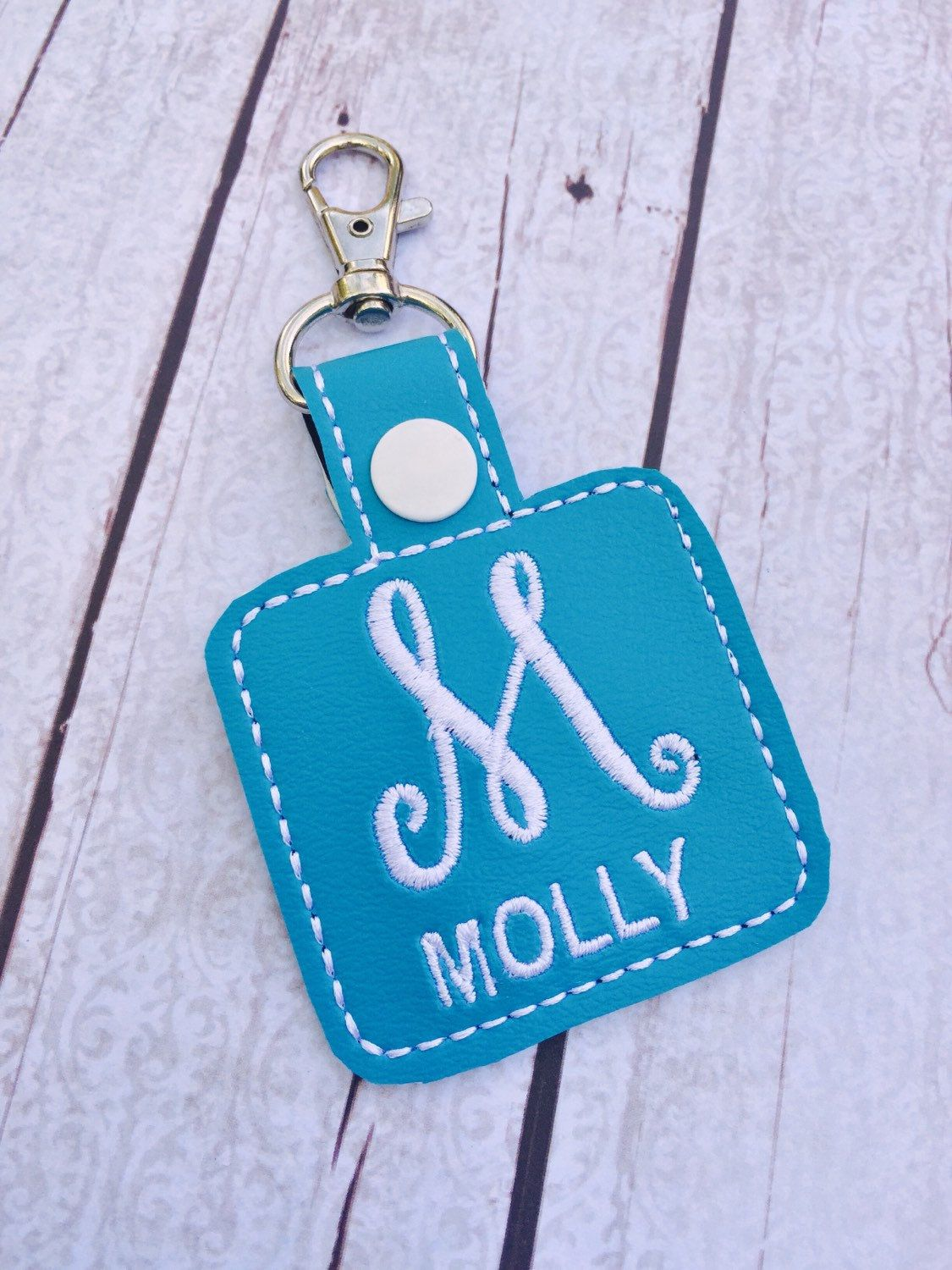 New to babymoon on Etsy: M is for Monogram clip on keyring -backpack clip on tag - personalized keyring - custom name bag tag -bagcharm - zipper pull turquoise white (14.99 USD)