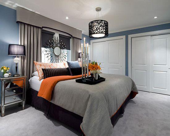 Jane Lockhart Blue Gray Orange Bedroom Bedroom Interior Modern Bedroom Interior Interior Decoration Bedroom