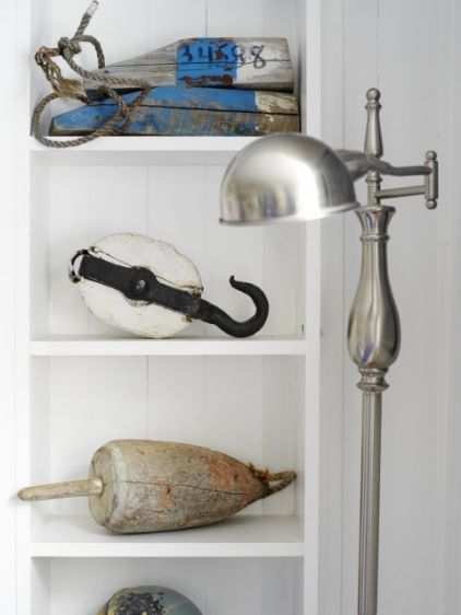 I love this display of found ocean objects. It's modern and authentic all at once.
