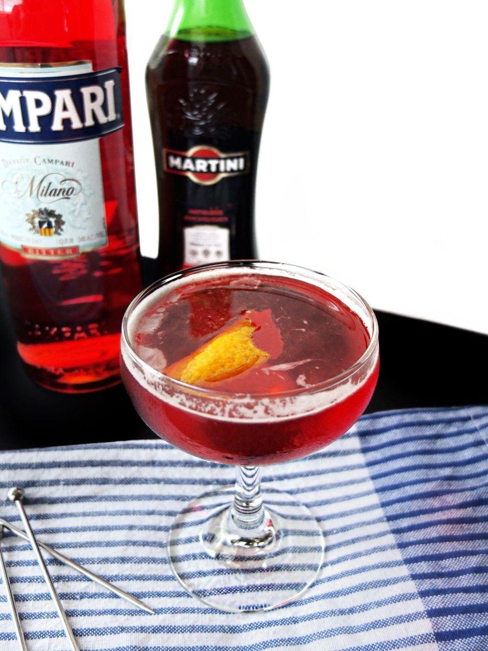 Boulevardier Cocktail Recipe Campari Cocktails Whiskey Recipes Negroni Recipe
