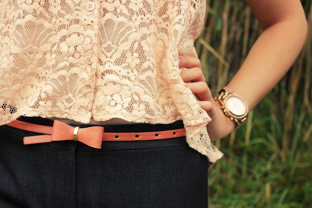 Lace + pretty pink belt + rose gold watch