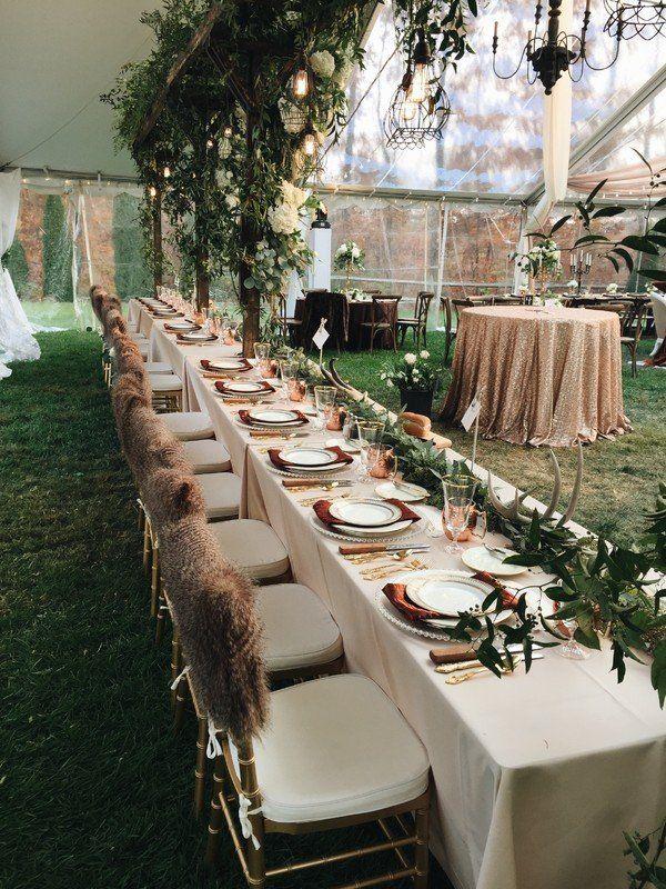 Winter Wedding Reception Decor Head Table With Greenery Garland