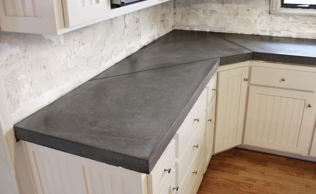 Concrete Kitchen Countertops With White Cabinets