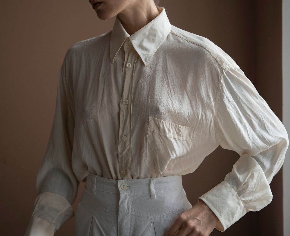 beige silk blouse silk blouse vintage silk blouse long sleeve vintage 80s silk blouse women silk blouse