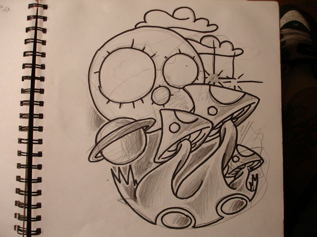 Go back pix for mushroom sketches trippy mushroom pencil