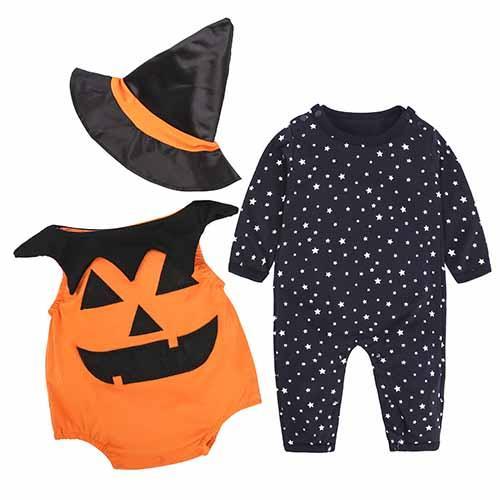 7a8ac19629cd Halloween Baby Set 3 Pcs. Hat + Slider + Rompers 0-18M Pumpkin ...