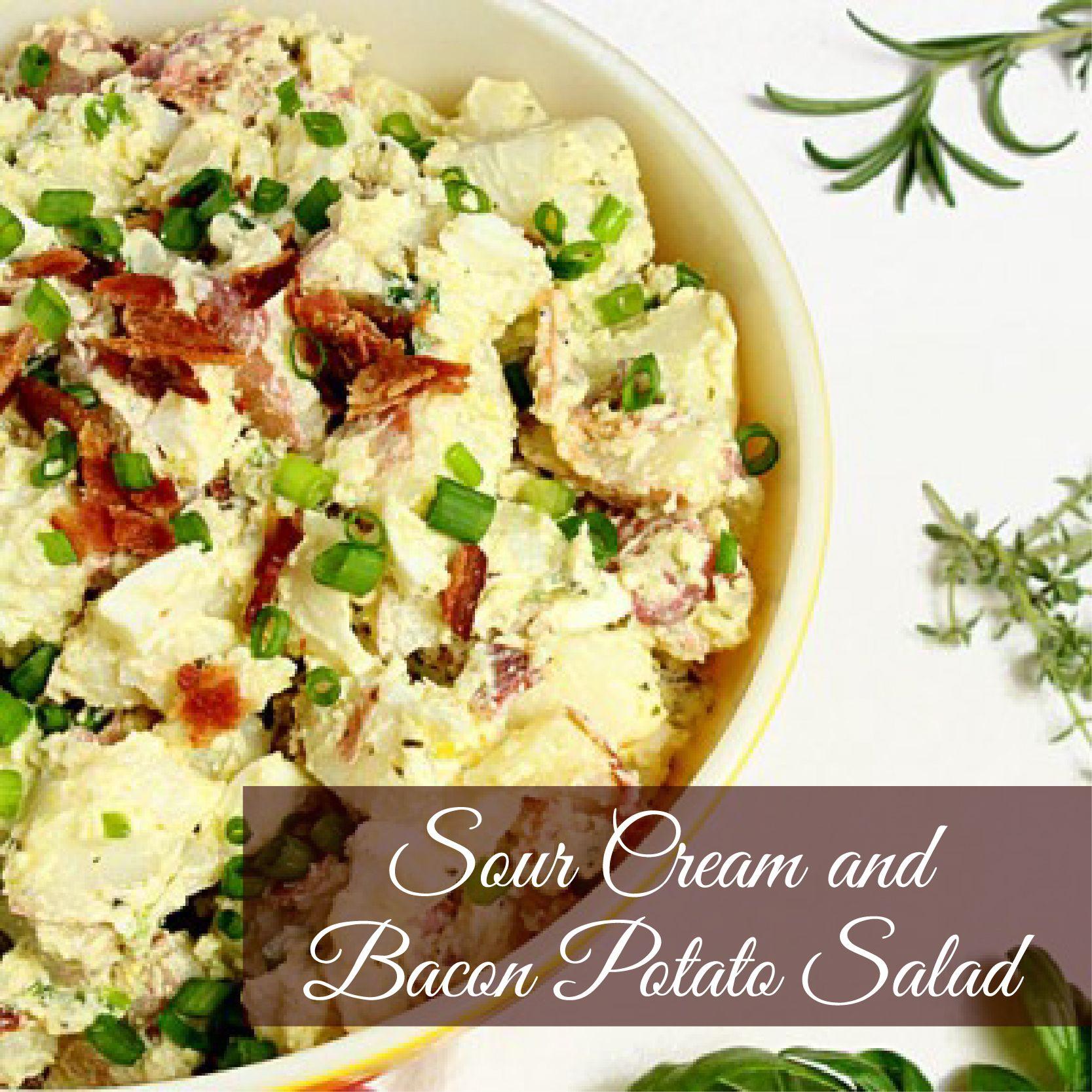 Sour Cream And Bacon Potato Salad Potatoe Salad Recipe Bacon Potato Salad Potato Salad