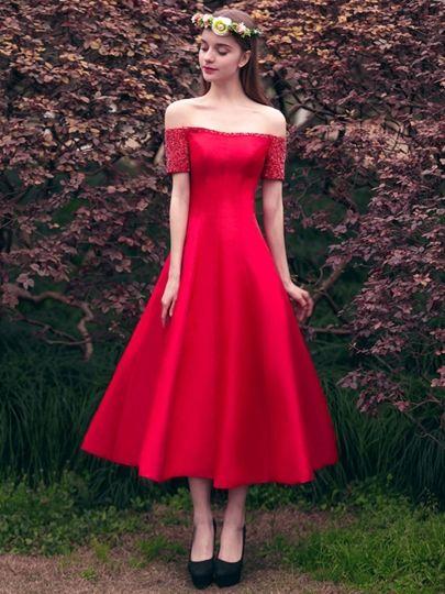 A-Line Short Sleeves Beading Off-the-Shoulder Tea-Length Prom Dress ...