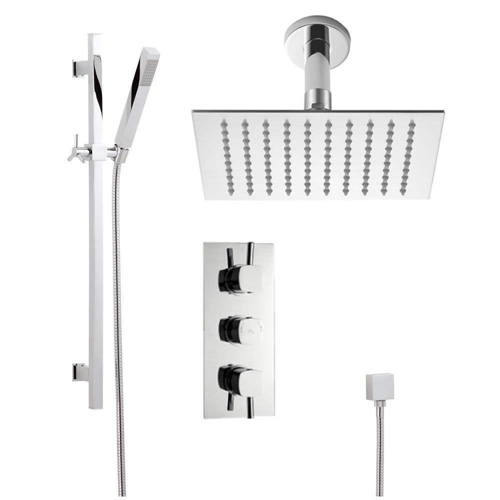 Chrome Square Slide Rail Kit, Chrome Square Thermostatic Triple ...