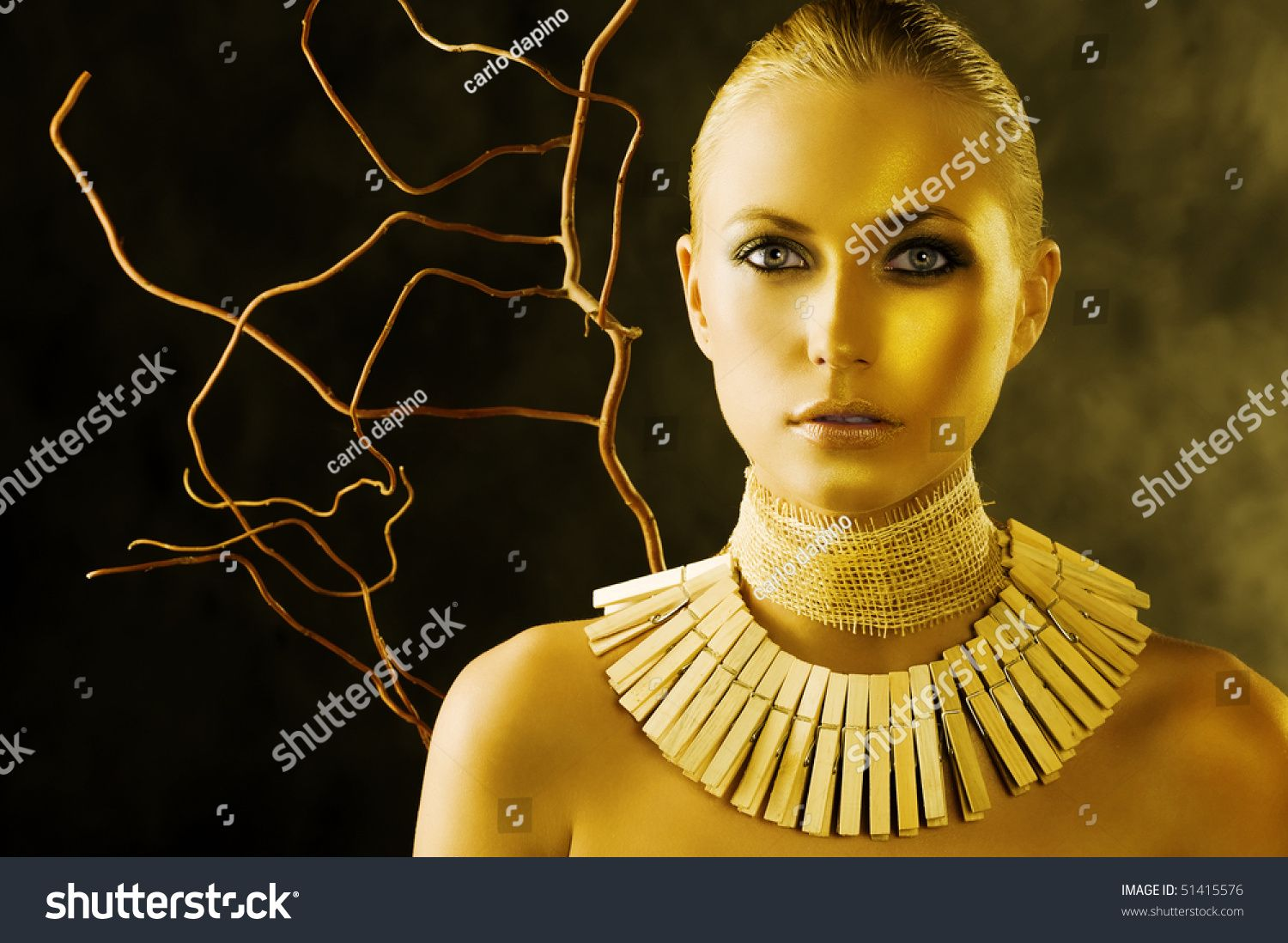 beautiful portrait of attractive blond woman like an amazon with a necklace made of wood peg #Sponsored , #AD, #attractive#blond#beautiful#portrait
