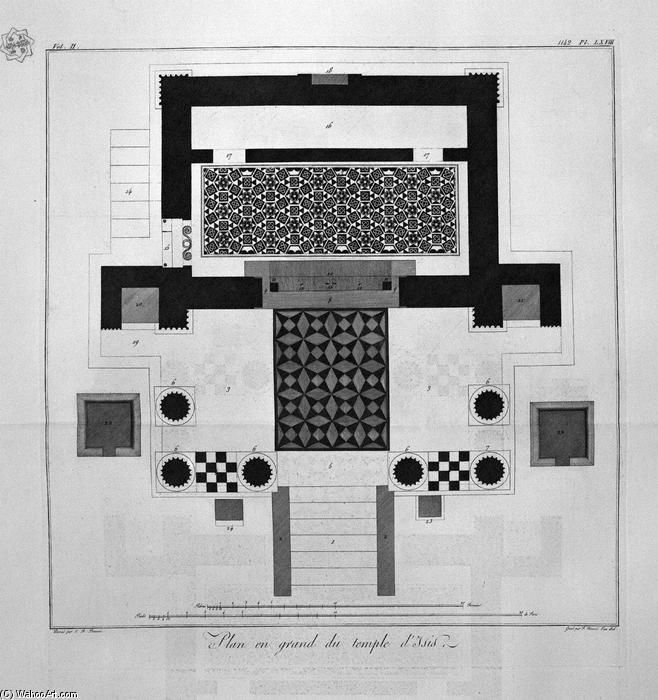 Floor plan for the great Temple of Isis by Giovanni Battista Piranesi (1720-1778, Italy)