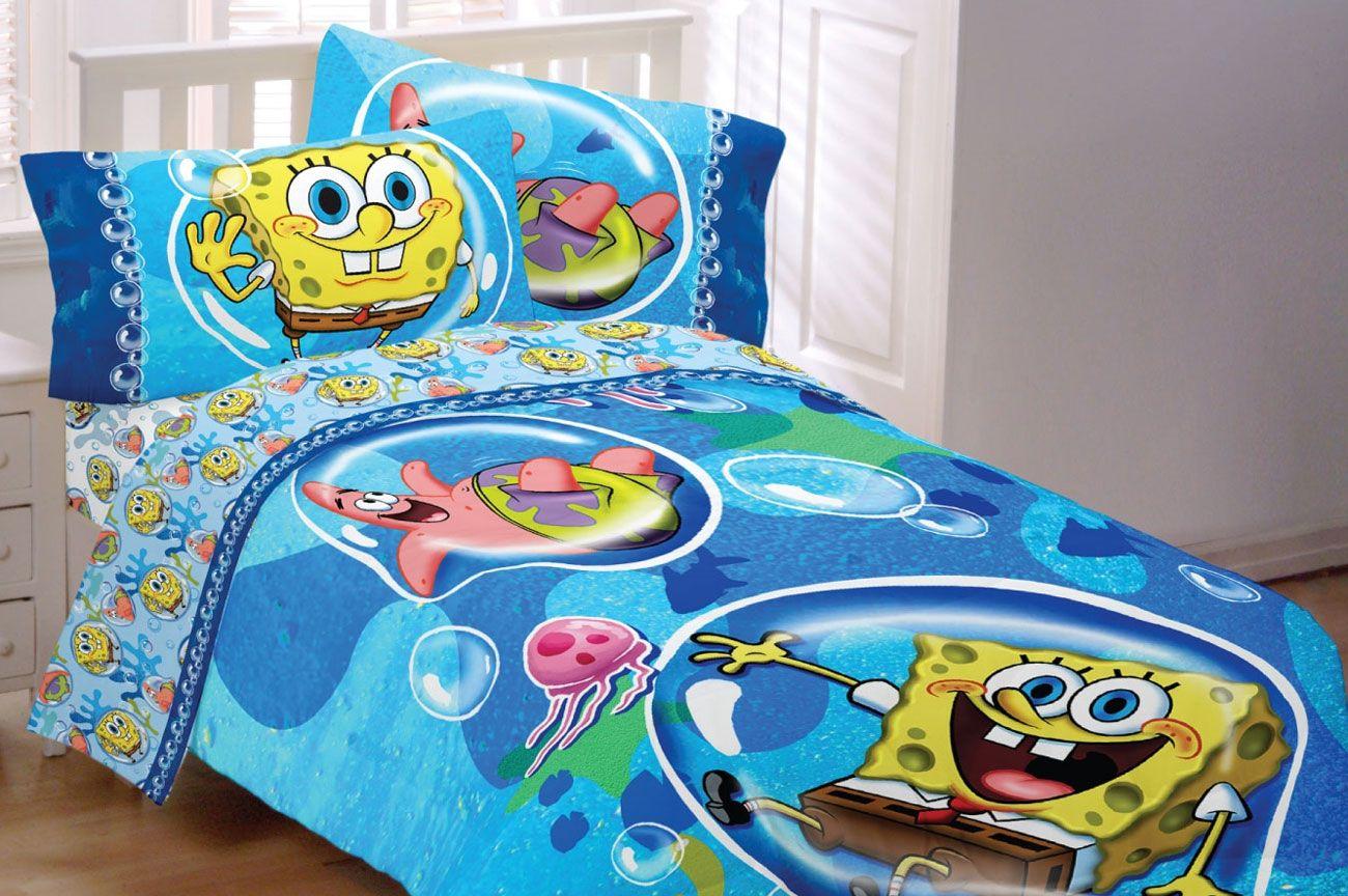 4pc Spongebob Squarepants Bedding Set Bubble Surprise Comforter