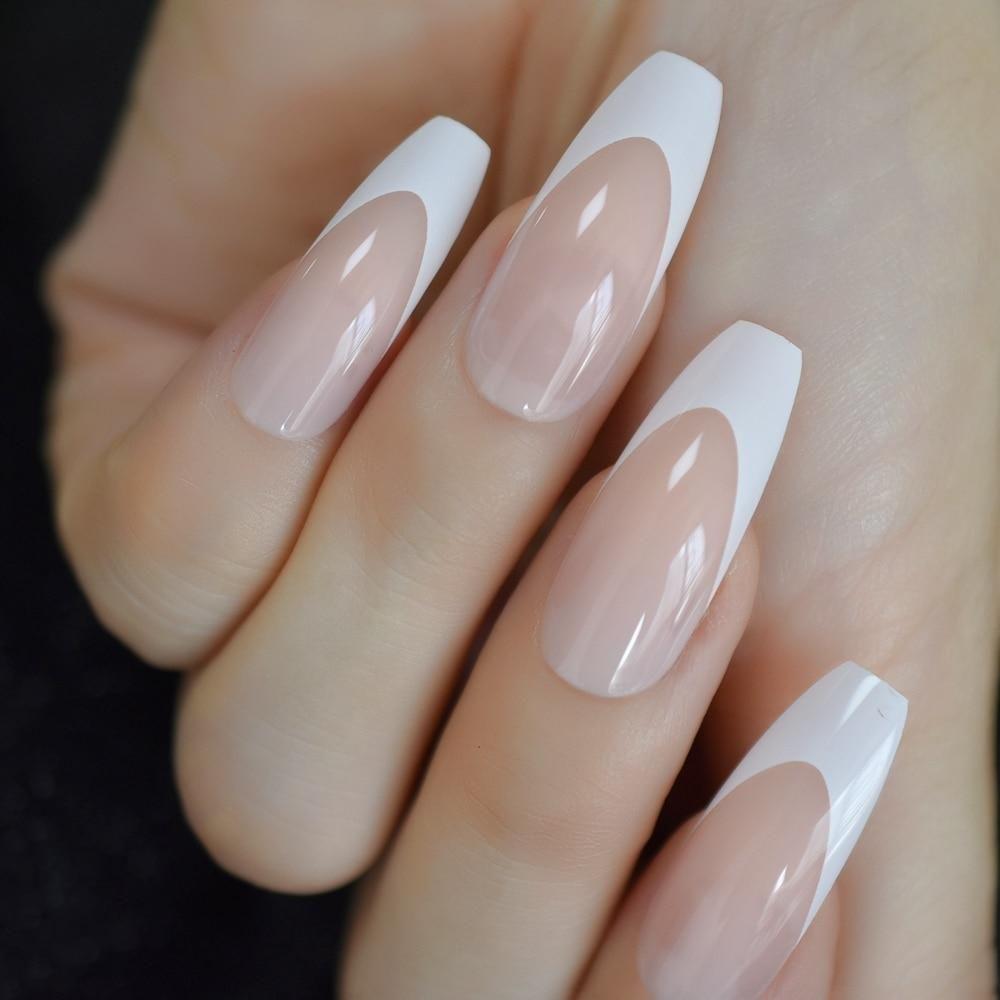 Application Fingernail Length Extra Longmodel Number French Tiptype Full Nail Tipsnail Width Mediumsize False Manicure White Acrylic Nails Press On Nails