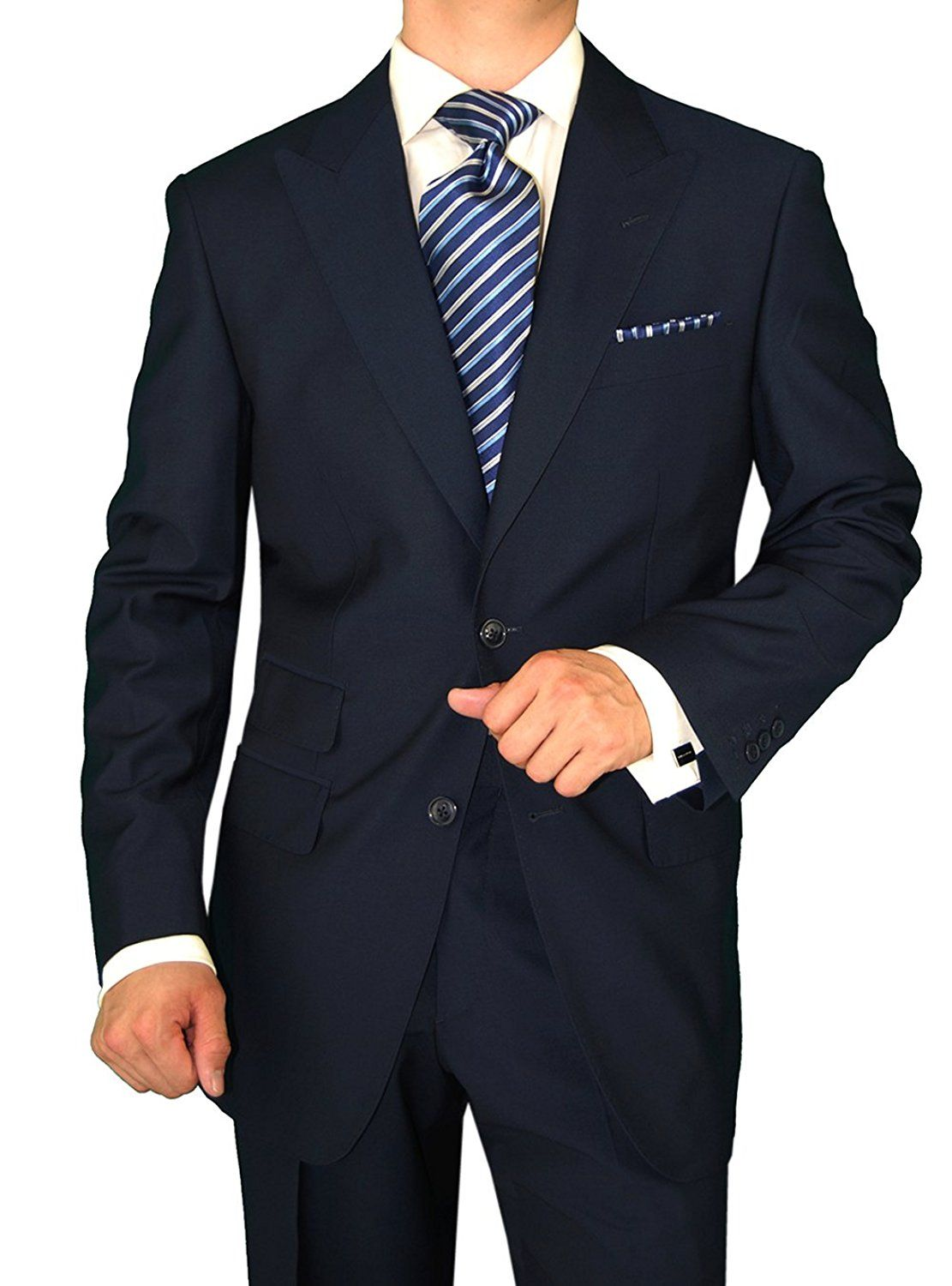 be2393505de9 Gino Valentino Men's Two Button Jacket Flat Front Pants Ticket Pocket Navy  Suit (44 Long US / 54 Long EU) at Amazon Men's Clothing store: Business  Suit ...