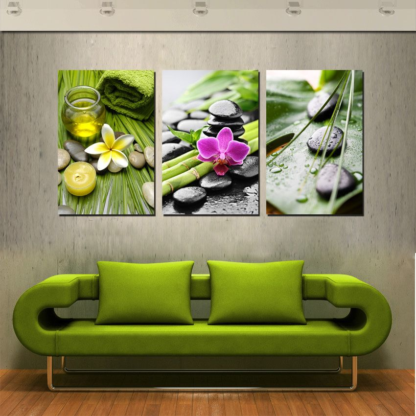 Large Realistic Wall Art Deco Painting Green Bamboo And Black