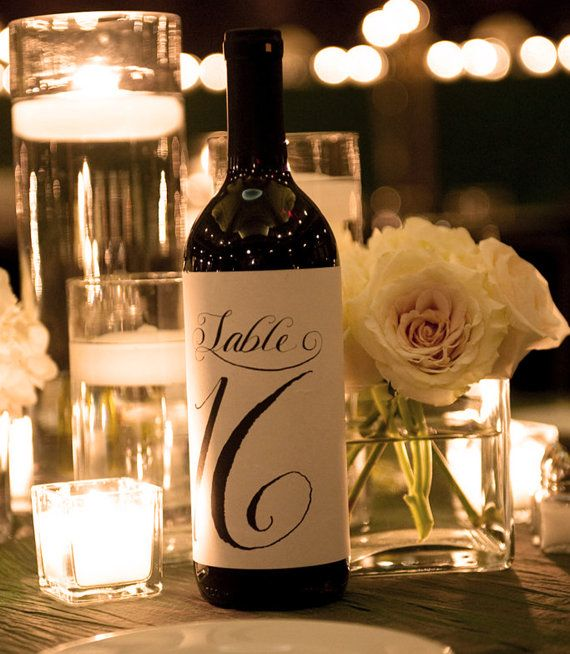 Table number labels for wine bottles 1 12 custom for Wedding table decorations with wine bottles